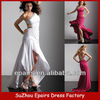 LND30 White sexy prom dress with beaded side slit evening gowns