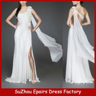 CWD12 One shoulder handmade flower chiffon wedding gown