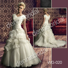 Grace WG-020 White V-Neck Short-Sleeve Hand Made Flower Court Train Ball Organza Wedding Dress Bridal Gown