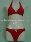 Flower print halter bikini with plastic ring women bikini swimwear