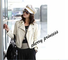 FY998122 Korea style woman handsome leather autumn jacket-beige