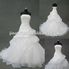 YC1039 New design sleeveless lace yarn long trailing wedding dress 2012