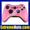 Glossy Pink Custom Housing for Xbox 360 Controller Shell with Glossy Black Inserts ABXY Guide Button Kits
