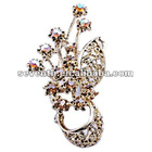 Gold Plated Brooch Bunch Flower Design With Crystal, 2012 Fashion new style Brooch