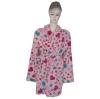 printed coral micro fleece bathrobe