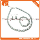 Light Grey Faux Pearl Necklace Bracelet and Earrings Jewelry Set