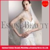 Charming short tulle off white beaded wedding veils