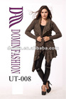 Hot selling cotton with brown knitted sweater Lady's tops with long cardigan , Plus Size