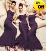 Style RZ-bd032 sweetheart dark purple pleated chiffon floor length bridesmaid gowns
