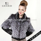 2012 Hot sale women plus size genuine Silver Fox Fur Coat #HD-79