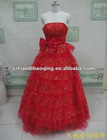 High waist bow embellishment sequin tiered tulle red wedding gown