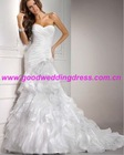 2012 New Design White Floor Length Sweetheart Appliques Corset Elegant Mermaid Bride Wedding Dress