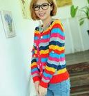 Colorful Stripe Balls Embellished Round Neck Long Sleeve Cardigan Grey Colorful TQ12092704-1