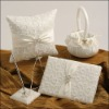 Double Square Rhinestones Wedding supply/ivory wedding accessory/2011 Grace wedding ring pillow set/wedding collection