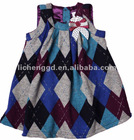 H3030# stylish Checked autumn spring kid woolen tunic dress