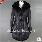 Western style PU long leather coat for women 2012