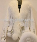 rabbit fur coat with fox fur hat
