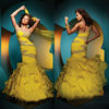 Bright Yellow Mermaid One Shoulder Tiered Skirt Floor Length Beaded Prom Dress Evening Gown/Party Dress