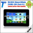 7inch MID Android 2.2 Flash 10.1 VIA8650 Camera WIFI 3G G-sensor 800 MHz,RAM 256MB,HDD 2GB,two point touch Seven color option