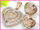 Evening Party Jewelry Two Tone Heart Studded Diamond Evening Jewelry Sets