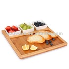 Bamboo serving tray with ceramic bowls