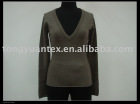 Ladies' Fashion Merino Wool V-neck Pullover
