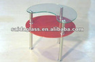 two tiers glass coffee table