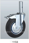 Adjustable scaffolding caster with rubber wheel, steel core, Roller bearing, With solid stem