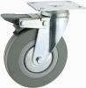 Grey Rubber Wheel With Swivel Top Plate And Brake