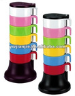 Plastic colorful coffee cup set