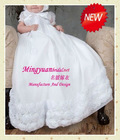 Handmade flower white organza long toddler dresses