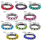 colour of shamballa Bracelets Crystal Balls(9Pcs)