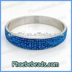 5Rows Peacock Blue Rhinestone Crystal Pave Bangles wholesale High Quality Stainless Steel Jewelry RCB-002