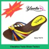Fashion ladies pu slipper with wooden outsole