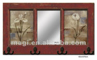 Antique Red Wood Mirror With Hooks For Decoration