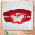 Hot sell red wide elastic stretch belts with butterfly lace accessories for children in kid's garment