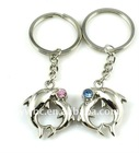 fashion alloy pink crystal dolphin shape keychain(K100053)
