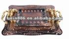 oblong copper tray set