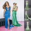 NEW!! Halter and Backless Slim-line Satin with Beading Hollow Out Sexy Prom Dresses 2012