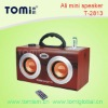 classical wood creative mini portable speaker with fm radio