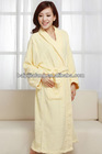 yellow jacquard terry cotton bathrobe
