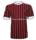 Red and white stripes 100 polyester t shirts soccer shirt