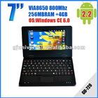 7 inch Mini Laptop OS Android 2.2 512MB 4GB RJ45 Wifi Mini Netbook five color option