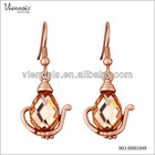 Rose Gold Plated Dangle Earrings S901049