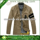 Latest Khaki Cotton Linen Twill Washed & Embroidery Jacket for Men