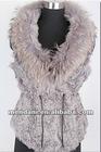 2012 Women fashion lamb fur vest with raccoon dog fur collar