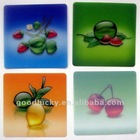 Square colored plastic coaster with fruits design