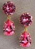 Warm and Shimmering! 18K Pink CZ Teardrop Earrings