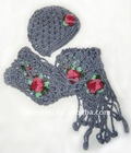 scarf and hat set rose embroidered crochet scarf