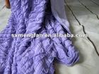 Shu velveteen+knitting pleats/layers etamine 2ply edge overlock throw/blanket